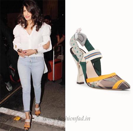 964352770ac Priyanka Chopra spotted wearing FENDI Colibrì Heels at the Mumbai Airport  recently.