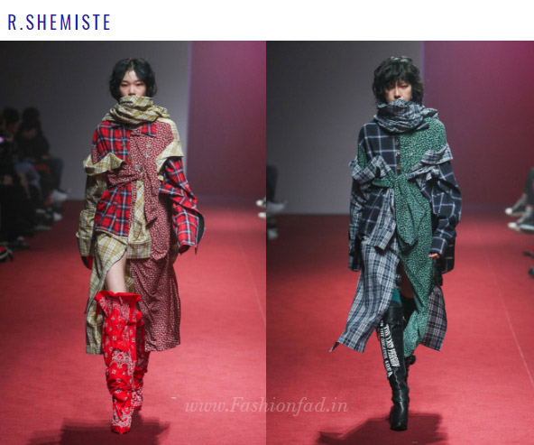 4affe228 ... Bo-na and Lim Jae-hyukhad models wore scarf-like masks hiding their  faces. Unique cuts, bold silhouettes and volume characterized the  collection.