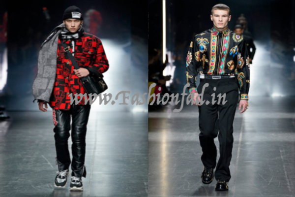 0166dc73c9d The GV logo in red and black is placed on outerwear and paired with logo  embroidered leather pants