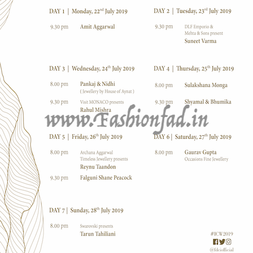 India Couture Week 2019, Show Schedule - Fashionfad